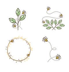 bee logo design set vector image vector image