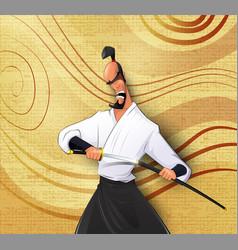 cartoon llustration of japanese samurai vector image