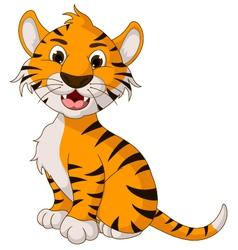 funny tiger cartoon posing vector image vector image