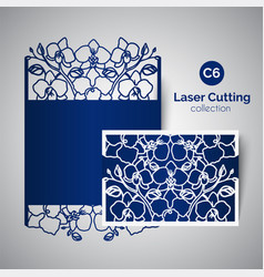 laser cut wedding invitation envelope for cutting vector image