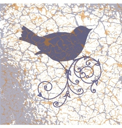 Ornamental bird on grunge background vector image