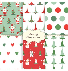 Set of Christmas seamless patterns 2 vector image