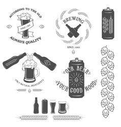 Vintage beer emblem and design elements vector image vector image