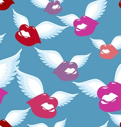 Winged Kiss seamless pattern Kiss with wings vector image