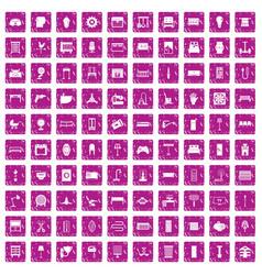 100 furnishing icons set grunge pink vector