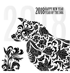 2018 greeting chinese new year card with stylized vector image