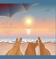 a couple restsing on sea tropical beach vector image vector image