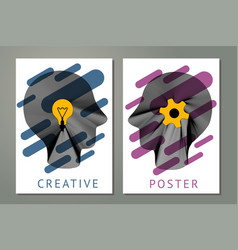 abstract composition with human heads gears vector image