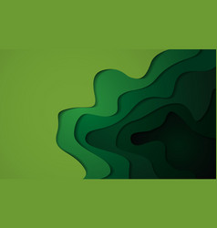 Abstract green tone 3d paper cut layers vector