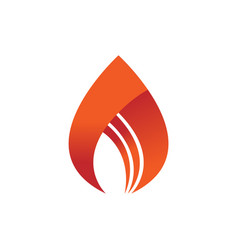 abstract simple flame fire symbol design vector image