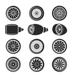 airplane turbine icon set vector image