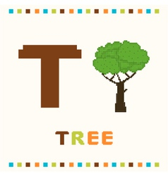 alphabet for children letter t and a tree vector image