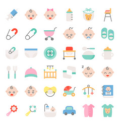 Baby shower flat icon set vector