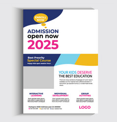 Back to school flyer template or school admission vector