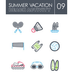 beach activity icon set summer vacation vector image