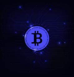 bitcoin symbol blue background vector image