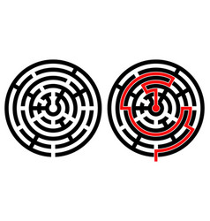 black round maze with solution with and without vector image