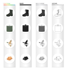 boots a hunting flask a flight of ducks a tent vector image