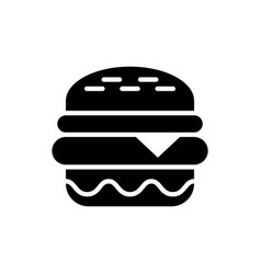 burger black icon on white background fastfood vector image