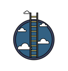 Business success ladder to the sky retro colored vector