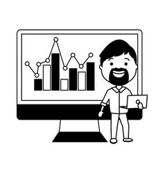businessman using desktop computer with statistics vector image