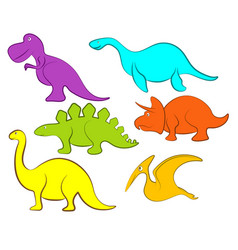 cartoon dinosaur character set vector image