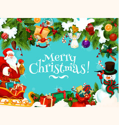 christmas banner with gift and snowman vector image