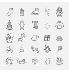 Christmas doddle icons set vector