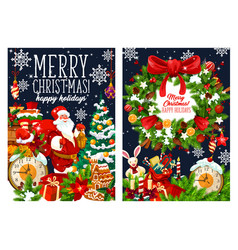 Christmas santa with gifts bag greetings vector