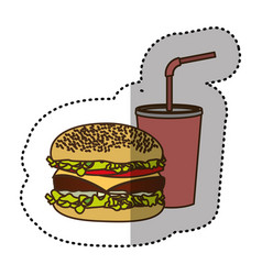 Color hamburger and soda flat icon vector