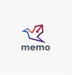 colorful bird pen logo icon template vector image