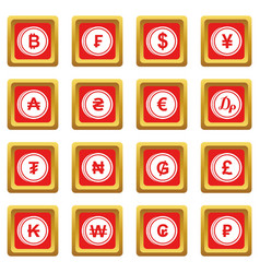 currency from different countries icons set red vector image
