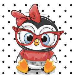 Cute cartoon penguin with red glasses vector