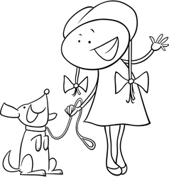 cute girl with dog coloring page vector image
