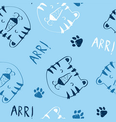 cute tiger seamless pattern print design vector image
