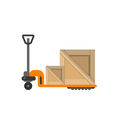 Delivery boxes on hand truck in flat design vector