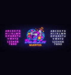 dia de los muertos neon sign day the vector image