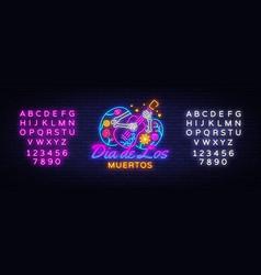 dia de los muertos neon sign day vector image