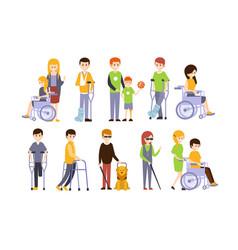 disabled people set blind deaf injured and vector image