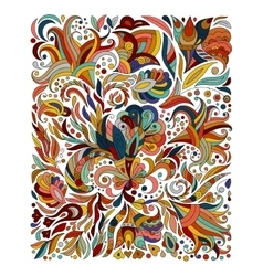 Doodle colorful rainbow floral hand draw pattern vector
