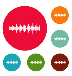 Equalizer element icons circle set vector