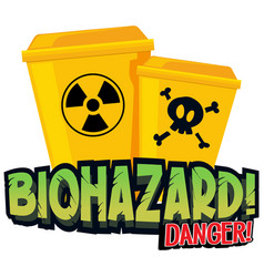 Font design for word biohazard with yellow vector
