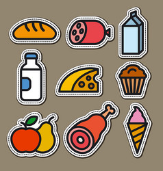 Food and grocery stickers vector