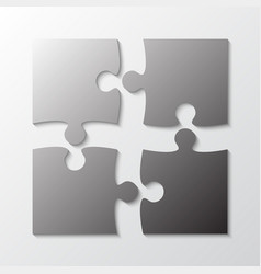 four grey piece jigsaw puzzle four section vector image