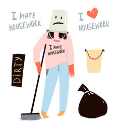 Funny flat housekeeper woman sad and unhappy vector