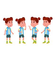 Girl kindergarten kid poses set character vector