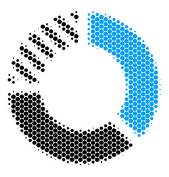 halftone dot pie chart icon vector image