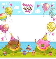 Happy Birthday card with donuts and cupcakes vector image