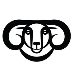 head of horned dark ram vector image