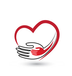 Helping caring hands with heart icon logo vector